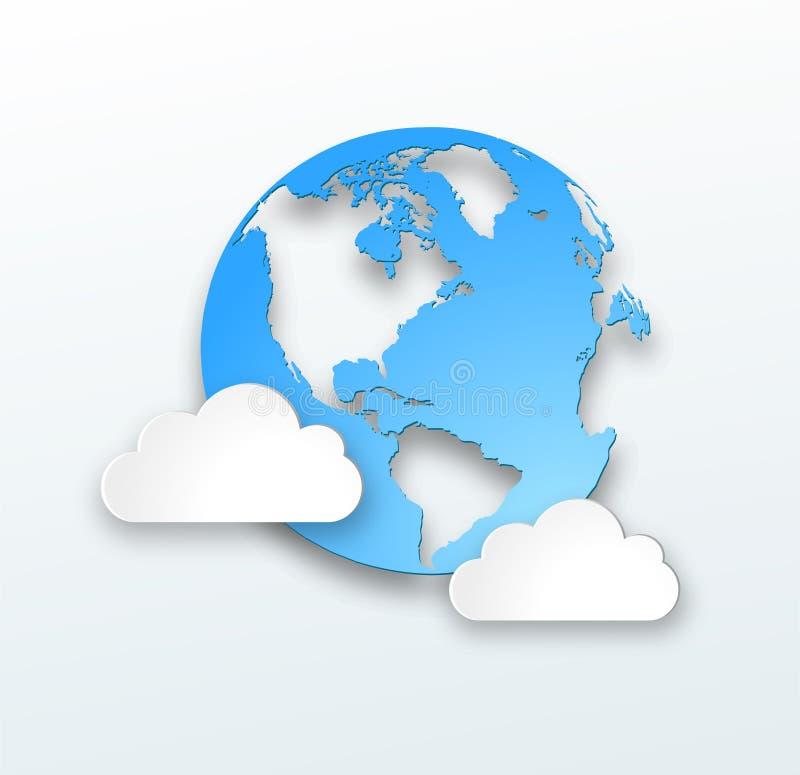 Extrahieren Sie Web-Auslegungshintergrund mit Wolken. lizenzfreie abbildung