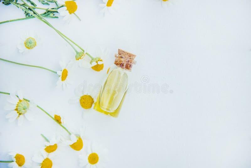 Extrait de camomille dans une petite bouteille Foyer sélectif photographie stock