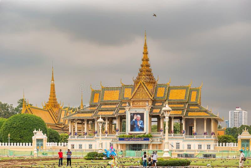 Extraknäcka paviljongen, delen av komplexet för den kungliga slotten, Phnom Penh arkivfoto