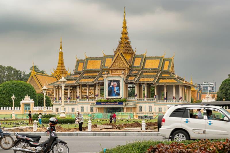 Extraknäcka paviljongen, delen av komplexet för den kungliga slotten, Phnom Penh royaltyfria bilder