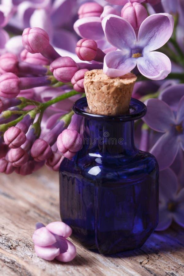 Extrakt av den aromatiska lilan blommar närbild på tabellen royaltyfri bild