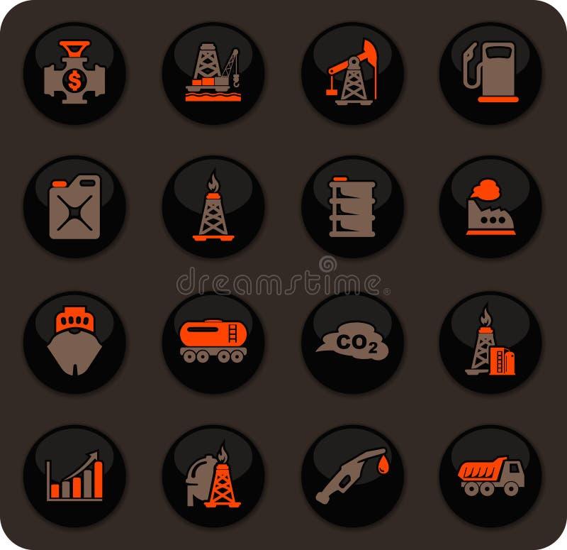 Extraktion av den olje- symbolsuppsättningen vektor illustrationer