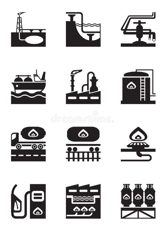 Extraktion och bearbeta av gas stock illustrationer