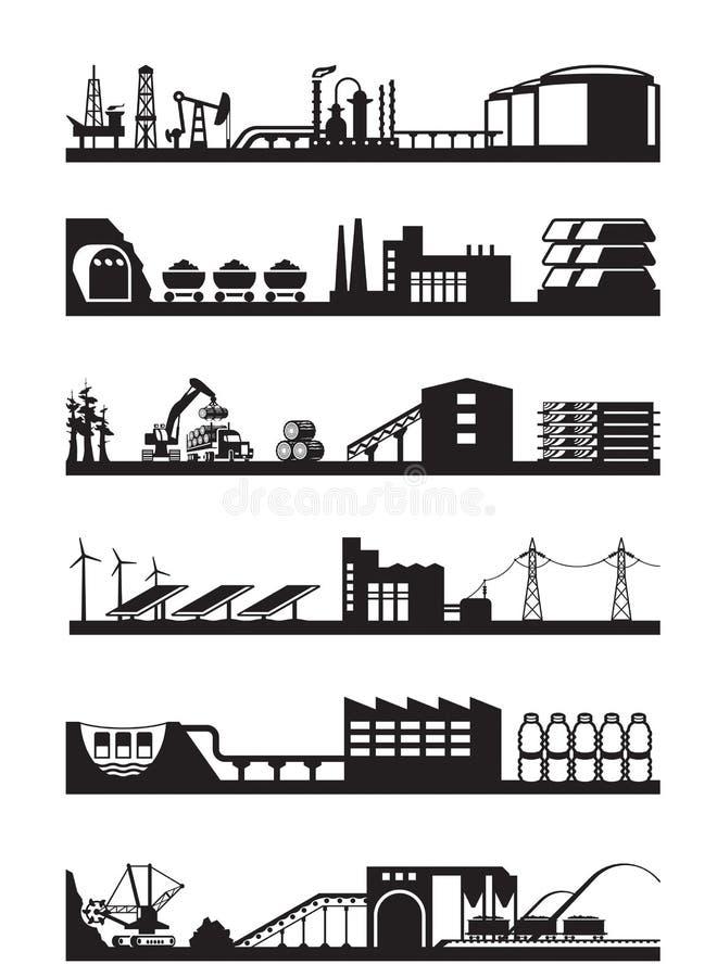 Extraktion och bearbeta av naturresurser stock illustrationer