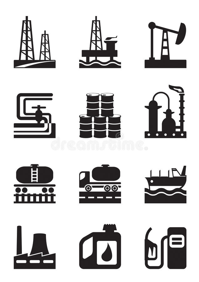 Extraktion och bearbeta av olja royaltyfri illustrationer