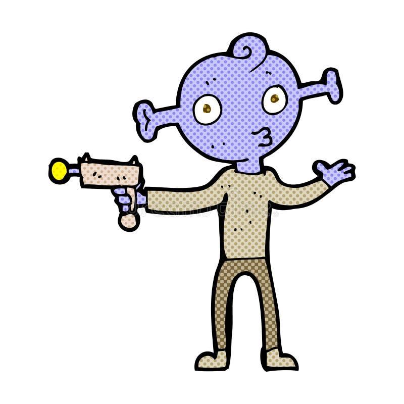 extranjero cómico de la historieta con el arma de rayo libre illustration