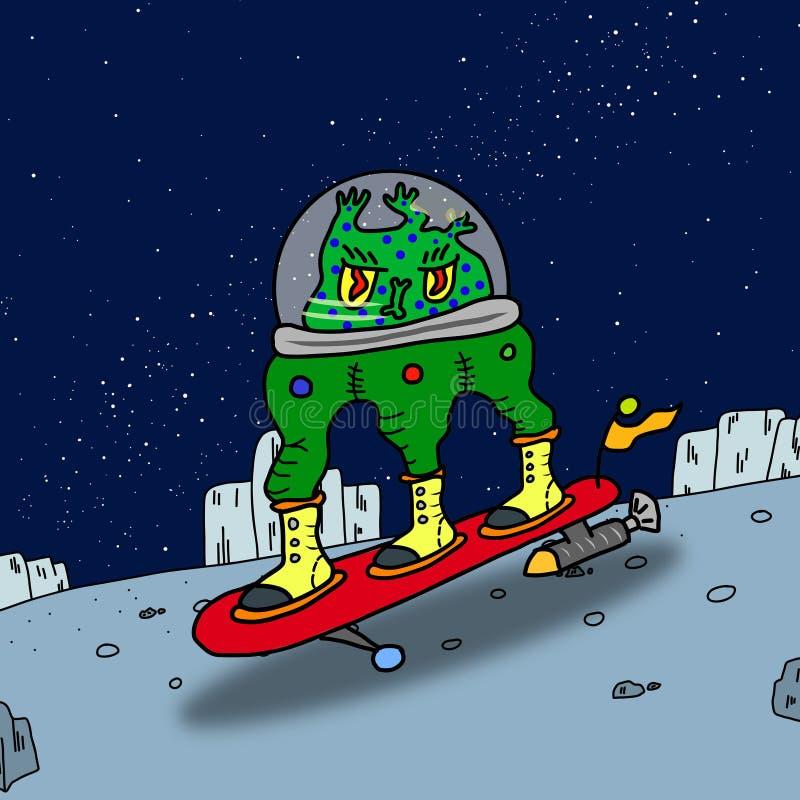 Extranjero de espacio extraño que practica surf verde loco ilustración del vector