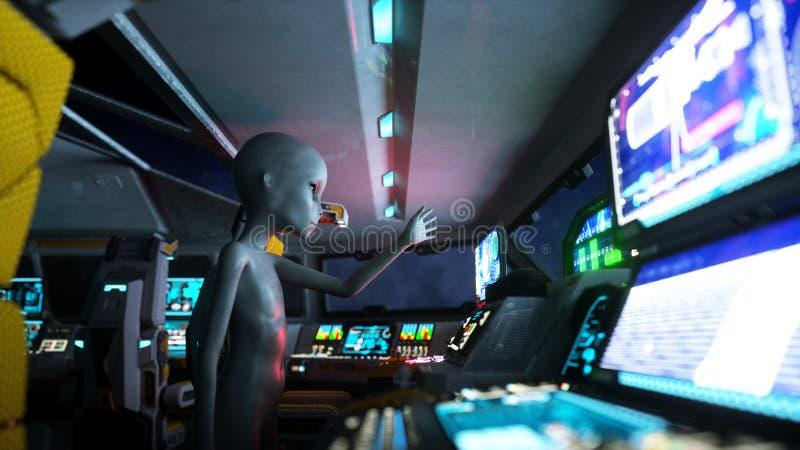 Extranjero en vehículo espacial mano que alcanza hacia fuera con el planeta de la tierra Concepto futurista del UFO representació libre illustration