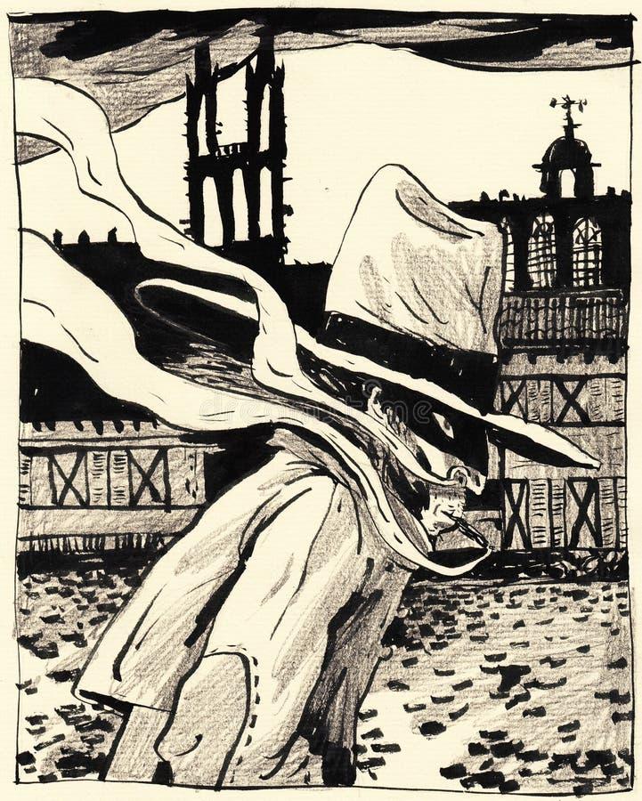 Extranjero misterioso en una ciudad medieval Un buen cartel o ejemplo ilustración del vector