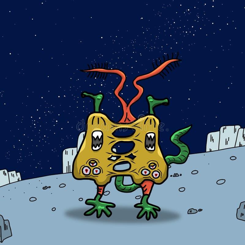 Extranjero o monstruo extraño amarillo loco de espacio en un planeta, un asteroide o una luna azul Ejemplo coloreado de la origin stock de ilustración
