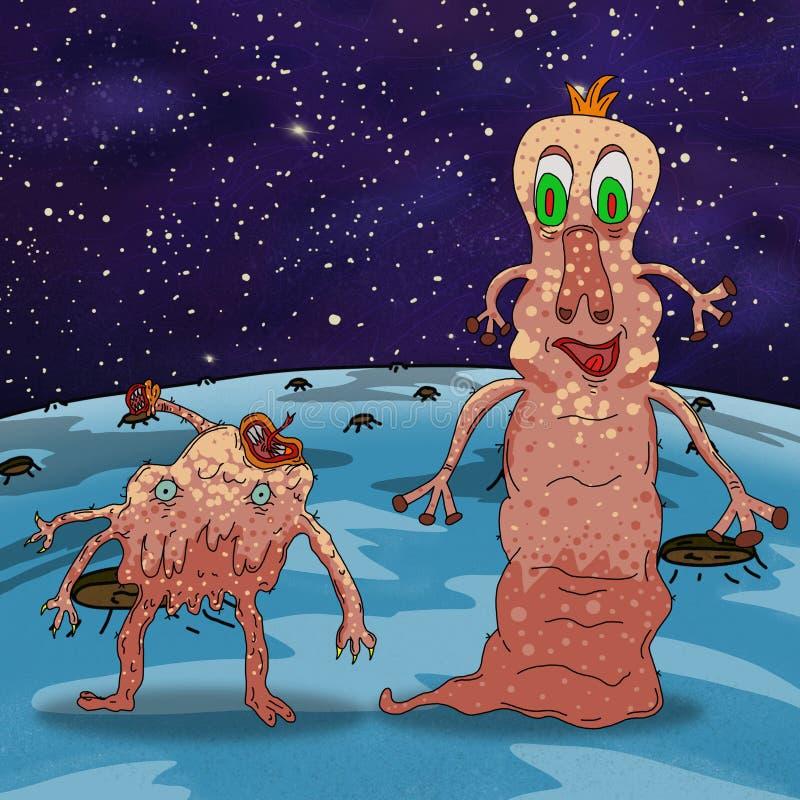 Extranjero o monstruo extraño loco de espacio en un planeta, un asteroide o una luna azul Ejemplo coloreado de la original ilustración del vector