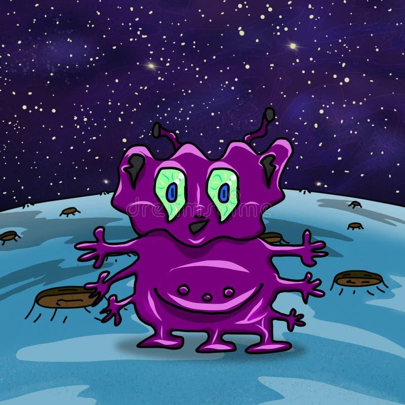 Extranjero o monstruo extraño púrpura loco de espacio ilustración del vector