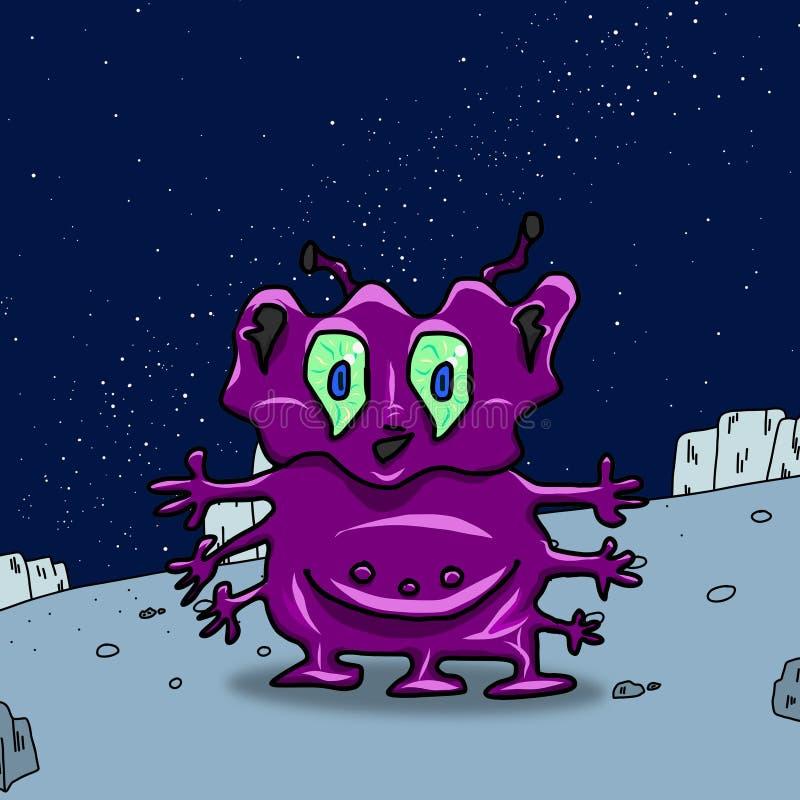 Extranjero o monstruo extraño púrpura loco de espacio en un planeta, un asteroide o una luna azul Ejemplo coloreado de la origina libre illustration