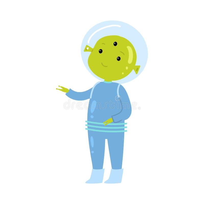 Extranjero verde lindo en la demostración azul del spacesuit a su planeta casero stock de ilustración