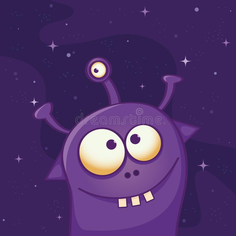 Extranjero violeta lindo con tres ojos y tres dientes - ejemplo divertido de la historieta ilustración del vector