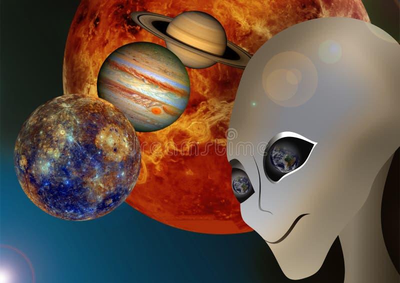 Extranjero y espacio ilustración del vector
