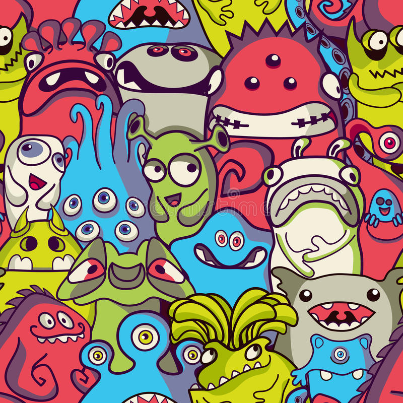 Extranjero y monstruos - modelo inconsútil stock de ilustración