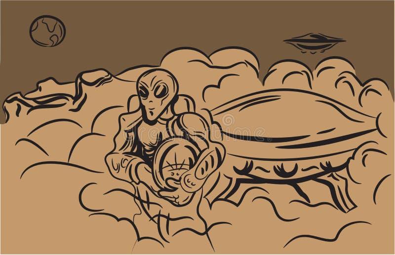 EXTRANJEROS del garabato en estilo del bosquejo en un fondo retro Lugar para su texto Vector libre illustration