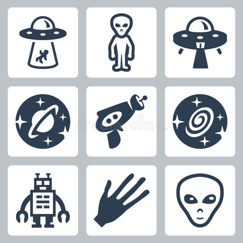 Extranjeros del vector e iconos del UFO fijados stock de ilustración