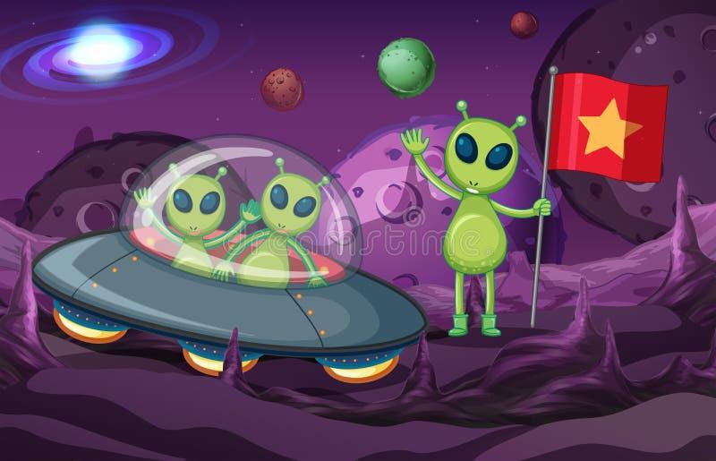 Extranjeros en espacio de exploración del UFO ilustración del vector