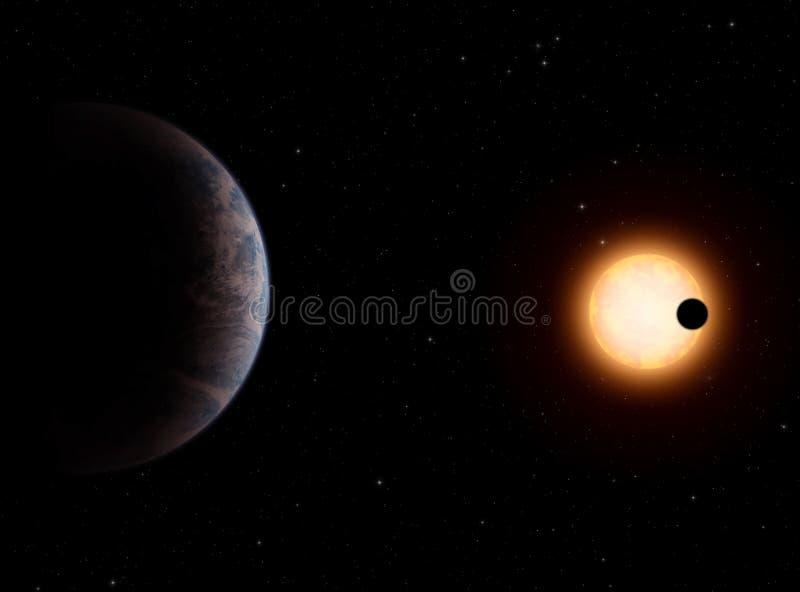 Extrasolar planeet gliese581-c stock illustratie