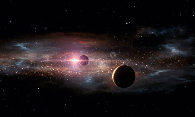 extrasolar planet abstrakt begrepp mot avstånd för stående för bakgrundskvinnlig ytterkant stock illustrationer