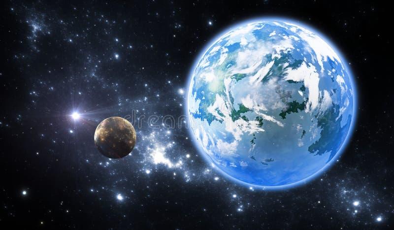 Extrasolar planet eller exoplanet vektor illustrationer