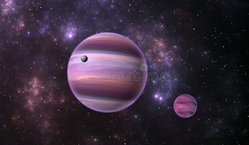 Extrasolar planet Gasa den extrasolar planeten med månen på bakgrundsnebulosan stock illustrationer