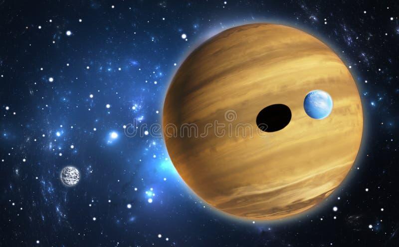Extrasolar planet Gasjätte med månar royaltyfri illustrationer