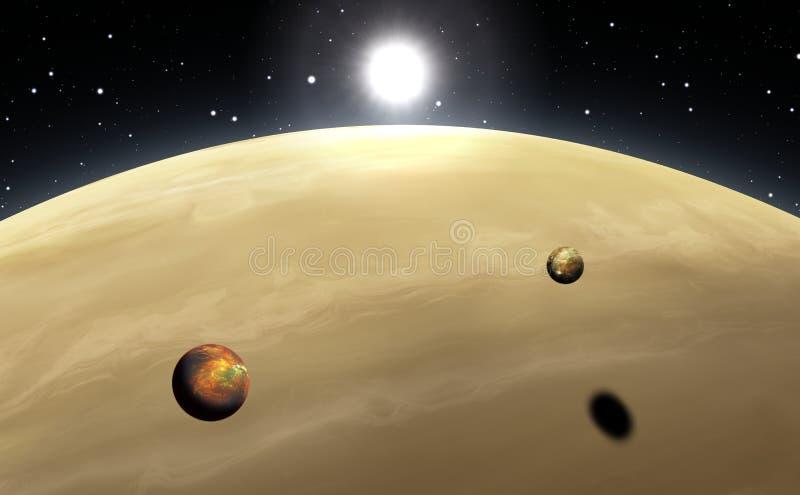 Extrasolar planet Gasjätte med månar stock illustrationer