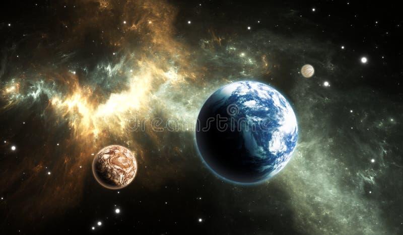 Extrasolar planet Jord-som exoplanet på bakgrundsnebulosan stock illustrationer