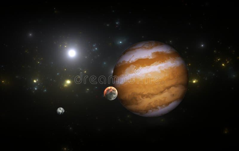 Extrasolar planet med månar royaltyfri illustrationer