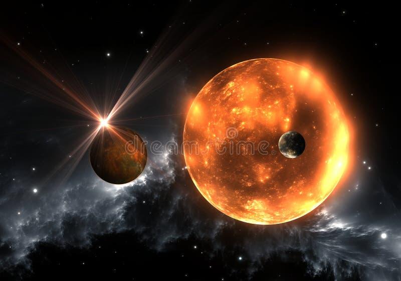 Extrasolar planeter eller exoplanets och rött röd supergiant för dvärg eller stock illustrationer