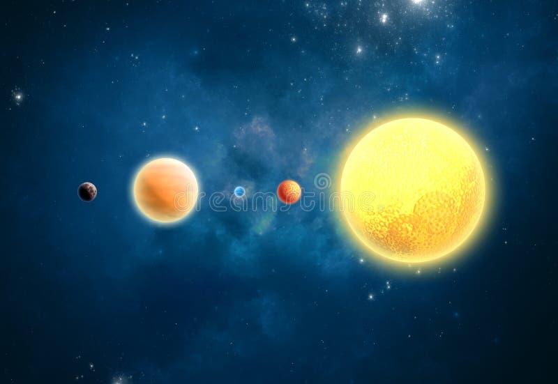Extrasolar planeter. Värld förutom vår solsystem royaltyfri illustrationer