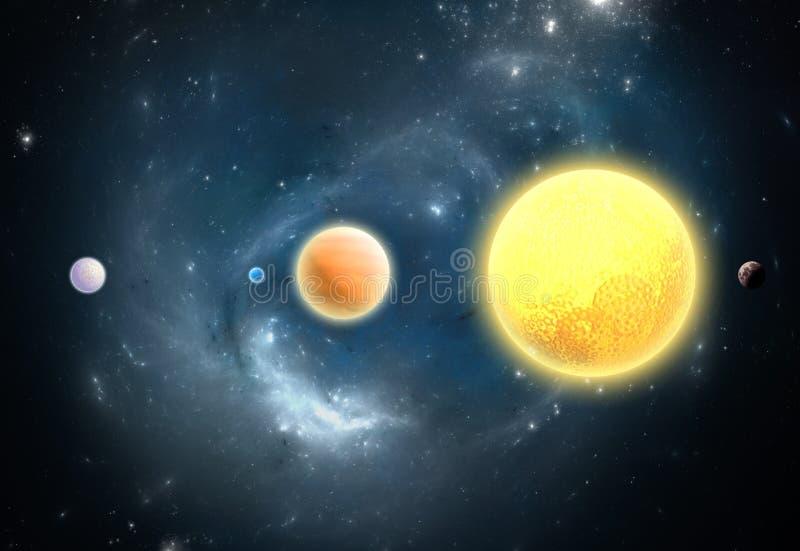 Extrasolar planeter. Värld förutom vår solsystem stock illustrationer