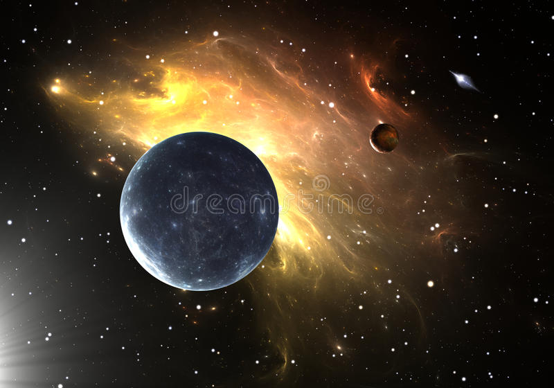 Extrasolar planets or exoplanets stock illustration