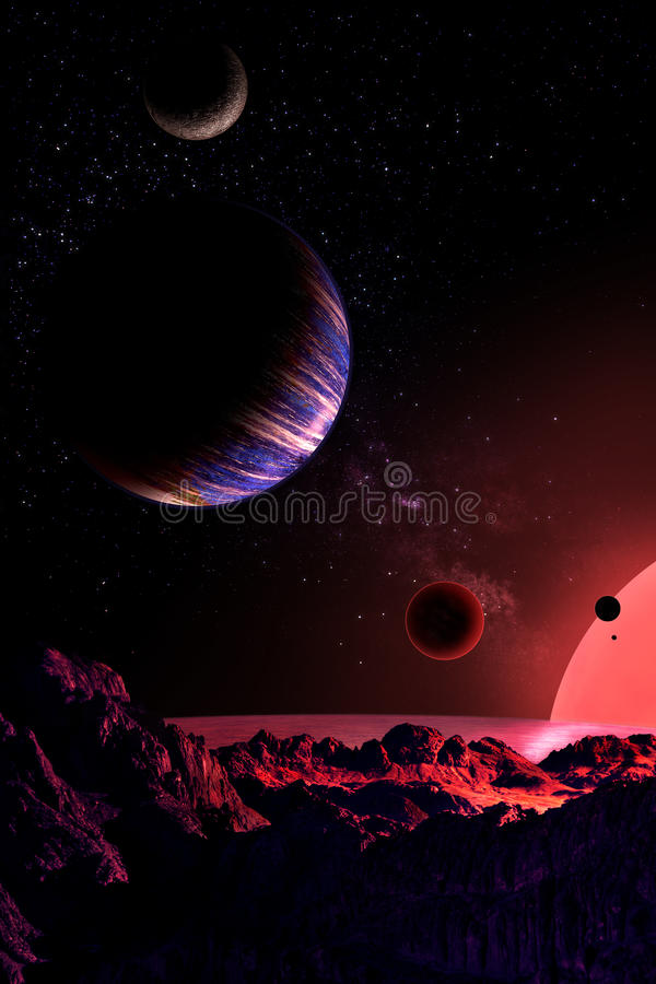 extrasolar planetsystem royaltyfri illustrationer