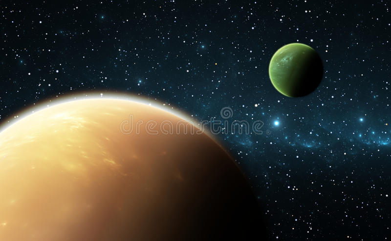 Extrasolarplaneten of exoplanets royalty-vrije illustratie