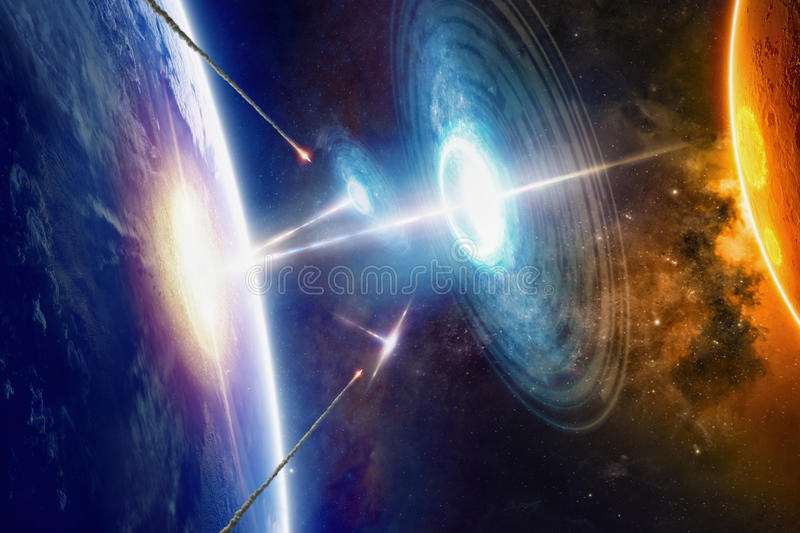 Extraterrestrial aliens spaceships hits planet Earth stock illustration