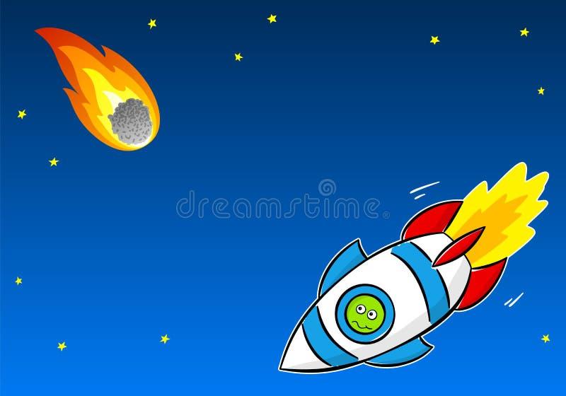 Extraterrestrial, einen Kometen vom Raumschiff beobachtend vektor abbildung