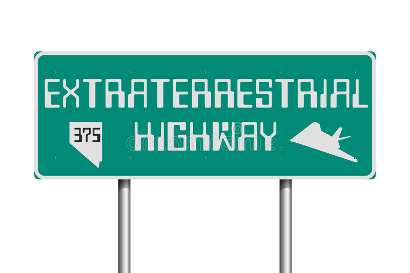 Extraterrestrial Highway road sign stock illustration