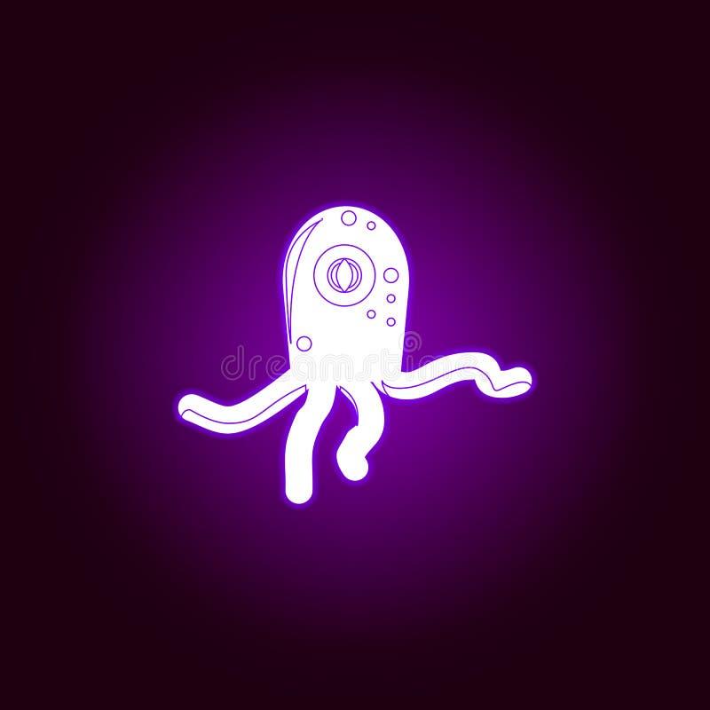 extraterrestrial istota konturu ikona w fiołkowym neonowym stylu Elementy UFO ilustracji linii ikona Znaki, symbole i s, ilustracja wektor