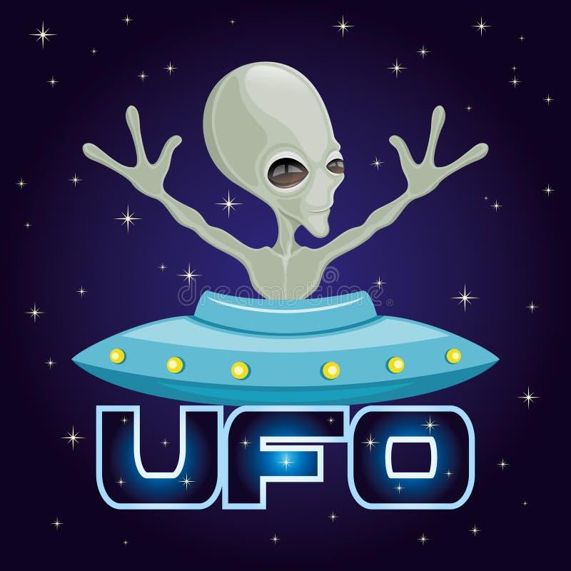 Extraterrestrial straniero verde sveglio illustrazione vettoriale