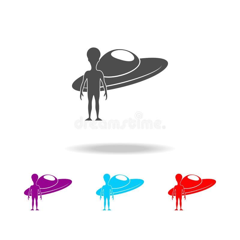 Extraterrestrial- und Raumschiffikone Elemente des Raumes in den multi farbigen Ikonen Erstklassige Qualitätsgrafikdesignikone Ei lizenzfreie abbildung