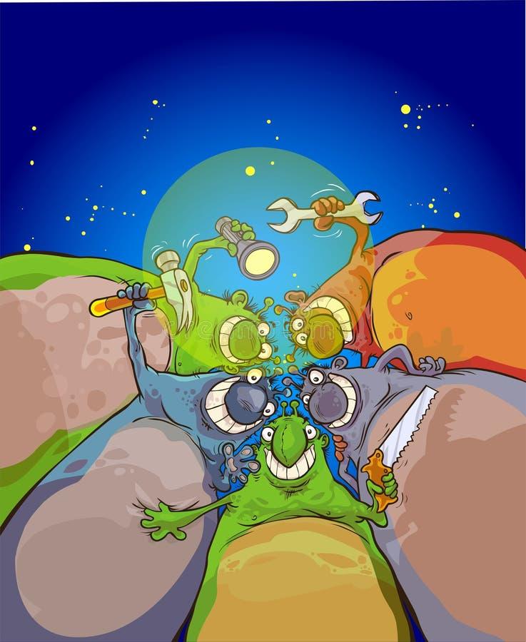 Extraterrestrials na nieba tle ilustracji