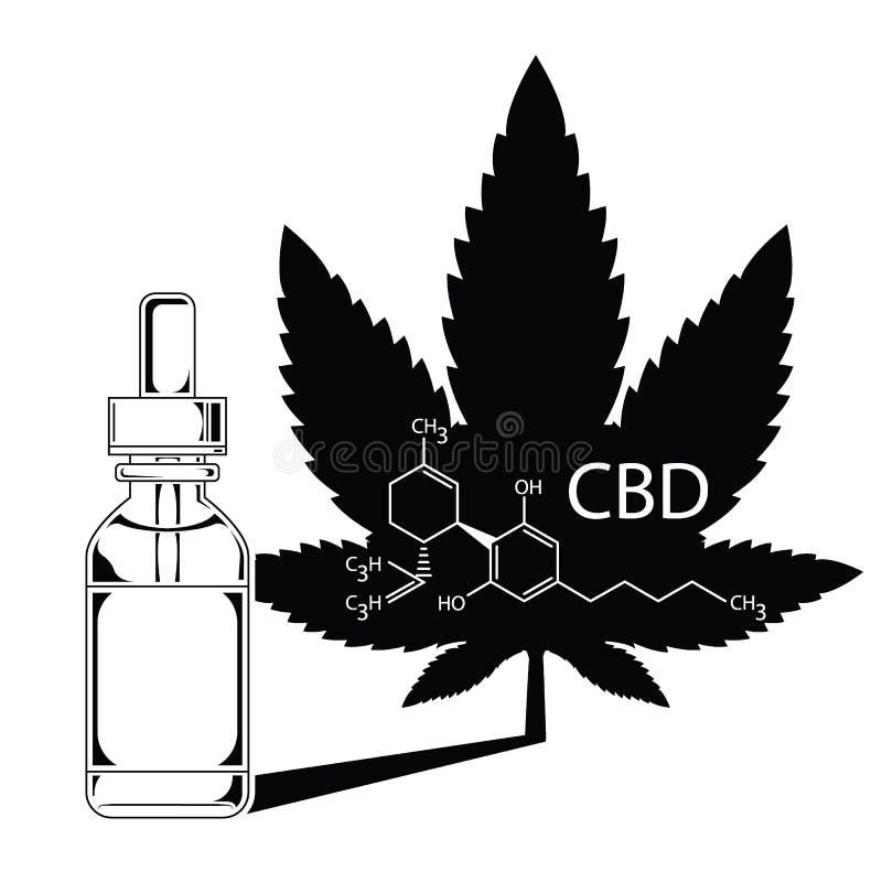 Extrato médico do óleo do cannabis da marijuana no vect da silhueta da garrafa ilustração royalty free