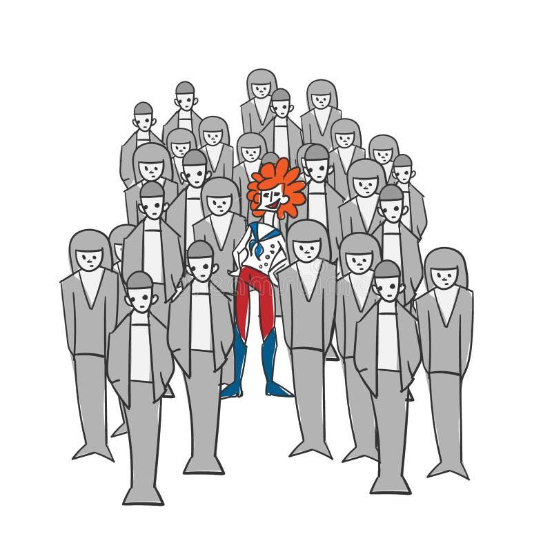 Extravagant concept vector illustration woman gray crowd vector illustration