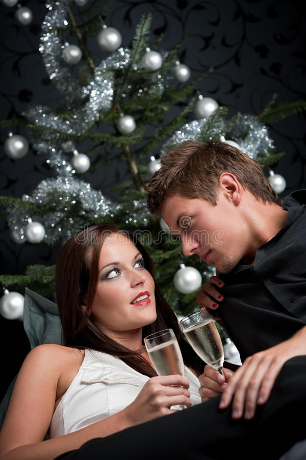 Download Extravagant Couple With Champagne On Christmas Stock Photo - Image of champagne, lounge: 11269526