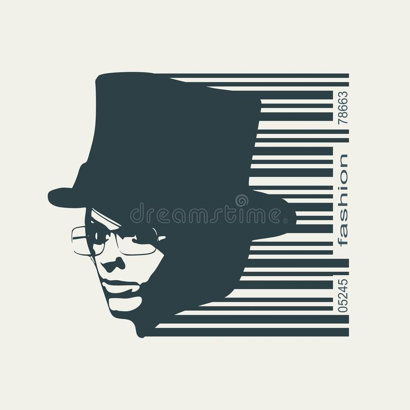 Extravagant woman portrait. Face half turn view. Elegant silhouette of a woman wearing top hat and spectacles. Bar code and female silhouette stock illustration