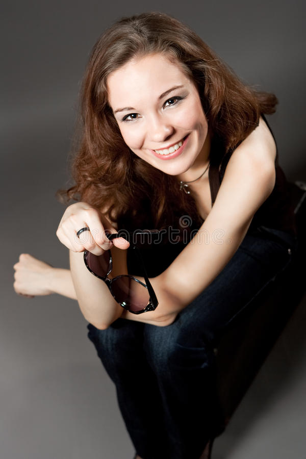 Download Extravagant Young Woman Smiling Stock Image - Image: 10388205